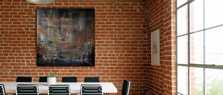Tableau contemporain de l'artiste peintre Christophe Baudin au format 100x100 - couleurs présentes noir, orange, blanc, jaune
