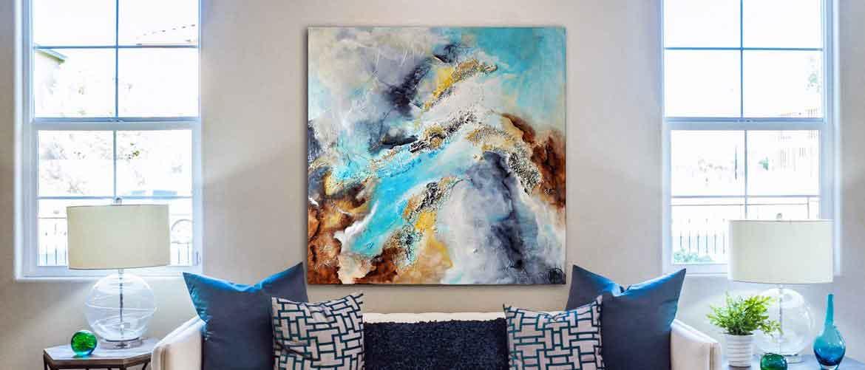 Tableau moderne de l'artiste Christophe Baudin au format 80x80 cm - Mer turquoise, ciel abstrait, photo satellite, teintes bleues, turquoises, grises et brunes. Un tableau riche en textures
